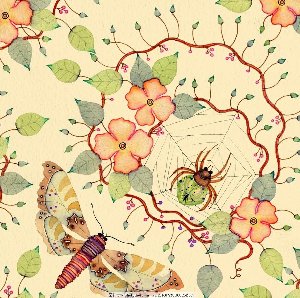 水彩花虫画 水彩画 小清新 花鸟画 画鸟 画小动物 画花朵 临摹