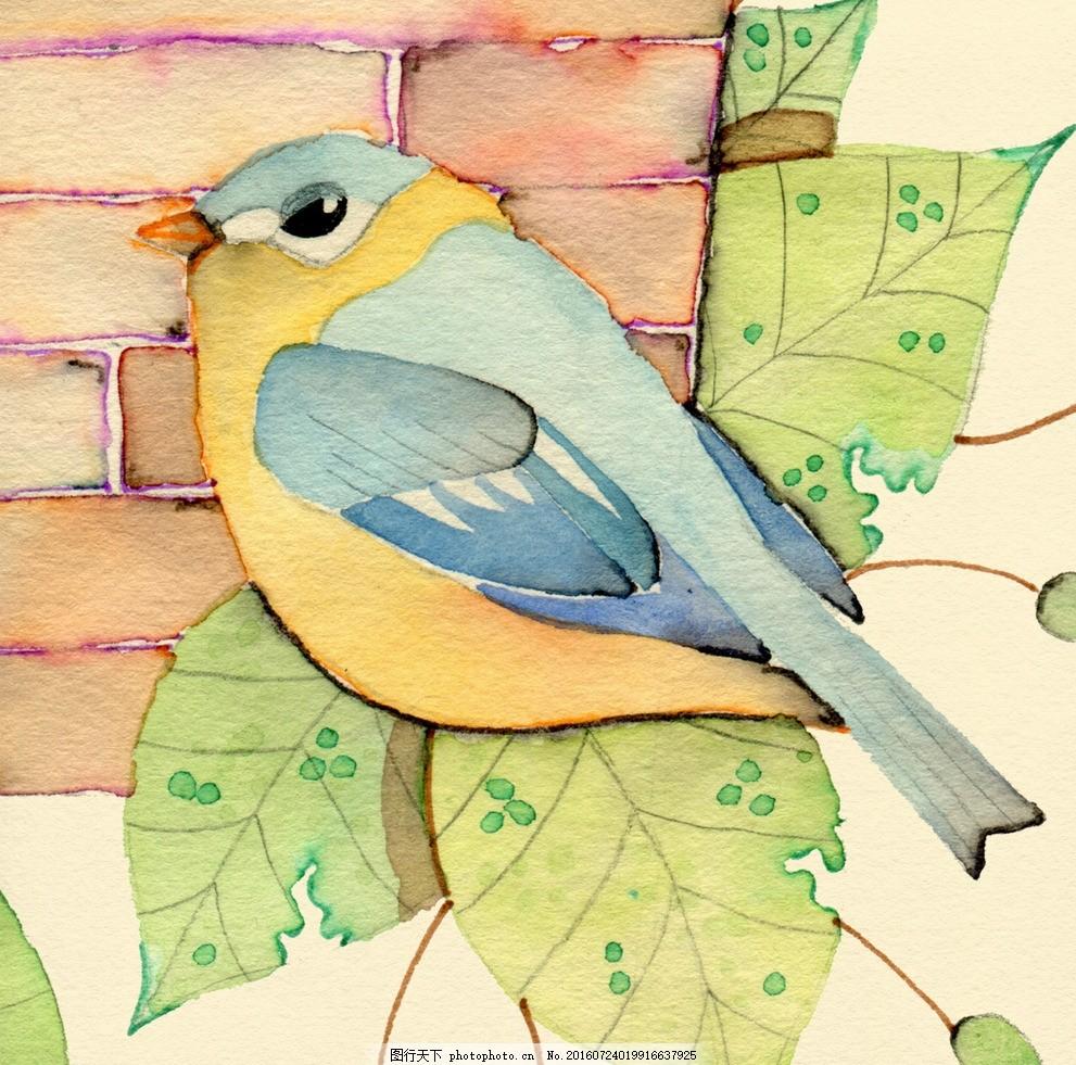 水彩花鸟画 水彩画 小清新 花虫画 虫鸟花 虫鸟画 画鸟 画小动物