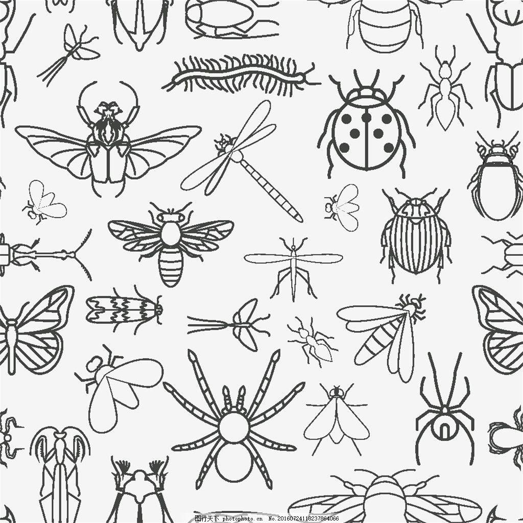 蜻蜓 蜘蛛 甲虫 蜈蚣 卡通蝴蝶 卡通瓢虫 卡通蜂蜜 卡通昆虫 卡通动物