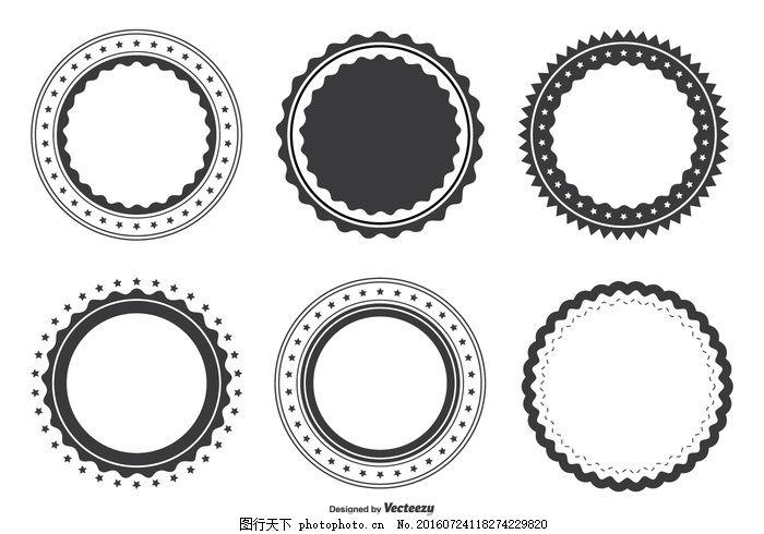 空白标签形状集 复古 标志 轮廓 邮票 符号 模板 圆圈 老 元素