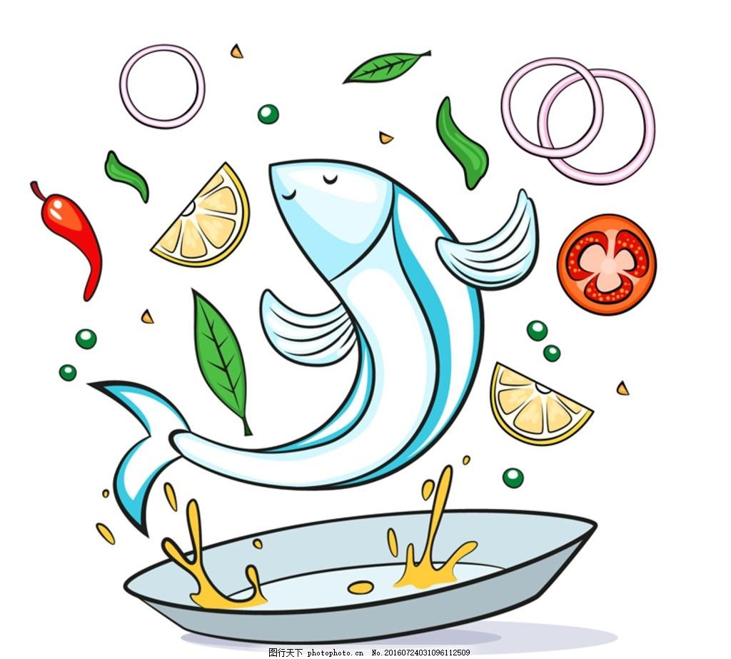 美味鱼料理设计矢量素材