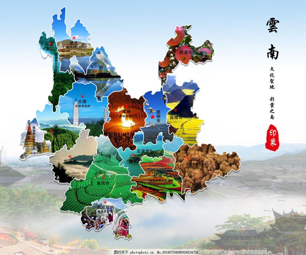 云南 各市 旅游 地图 景点 景区 海报 特色 昆明 香格里拉 西双版纳