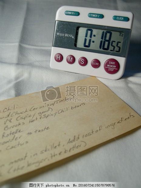 床单上的定时器 定时器 食谱 烹饪 厨师 时间 电子表 机器 床单