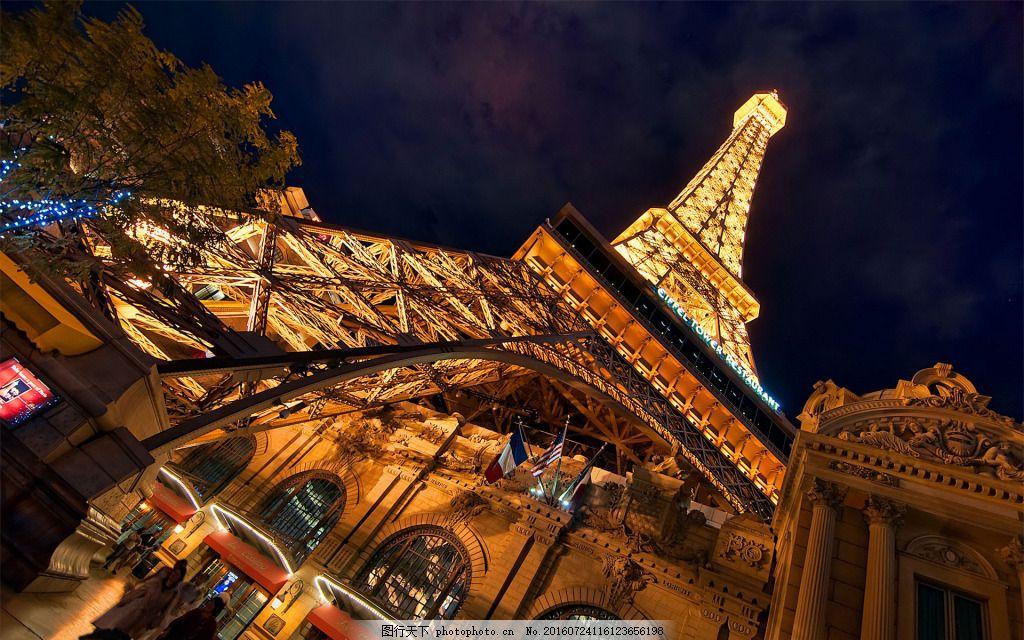 夜色下的埃菲尔铁塔 夜景 巴黎 风景 近景