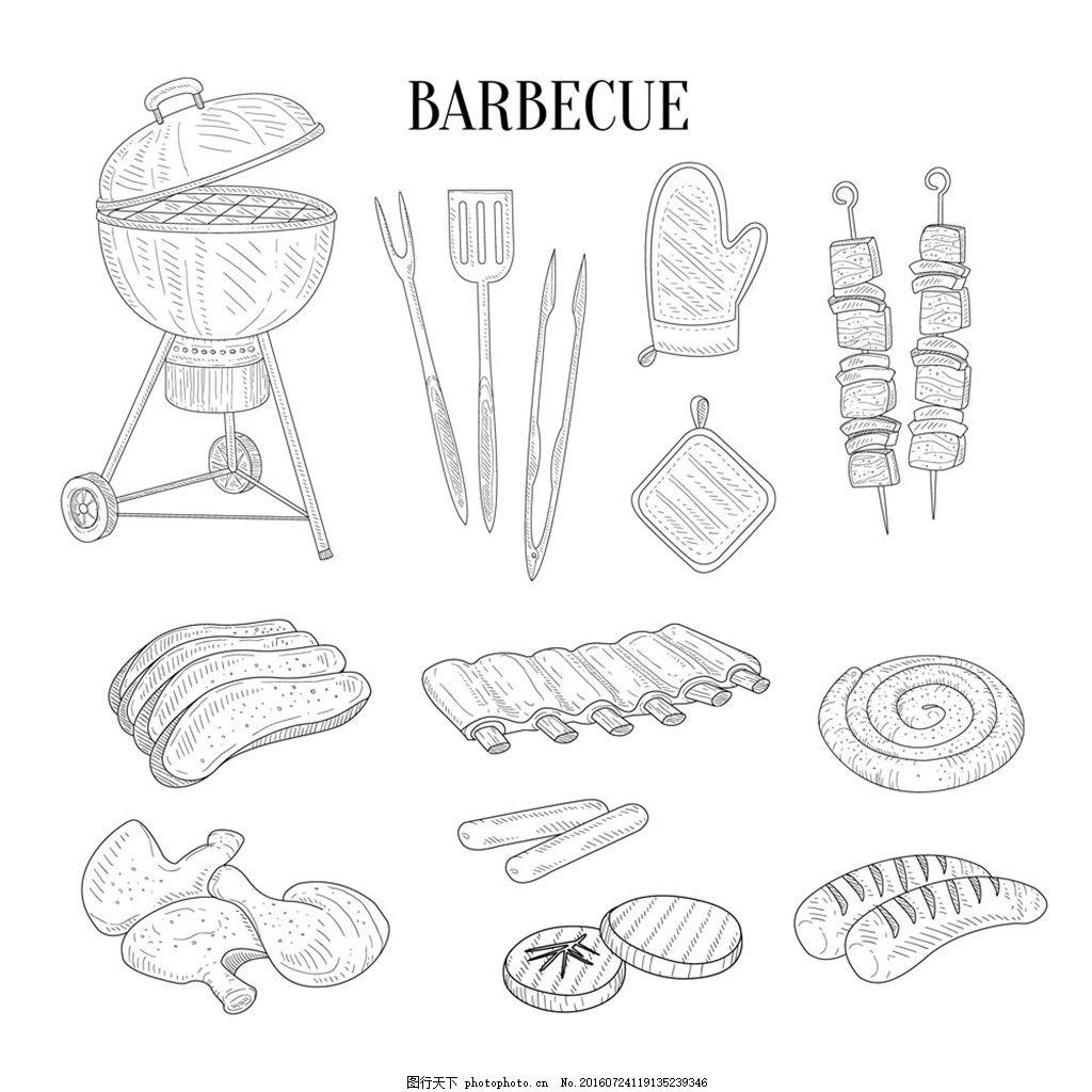 烧烤      烧烤广告 手绘图 矢量 面包 手套 鸡腿 肉串