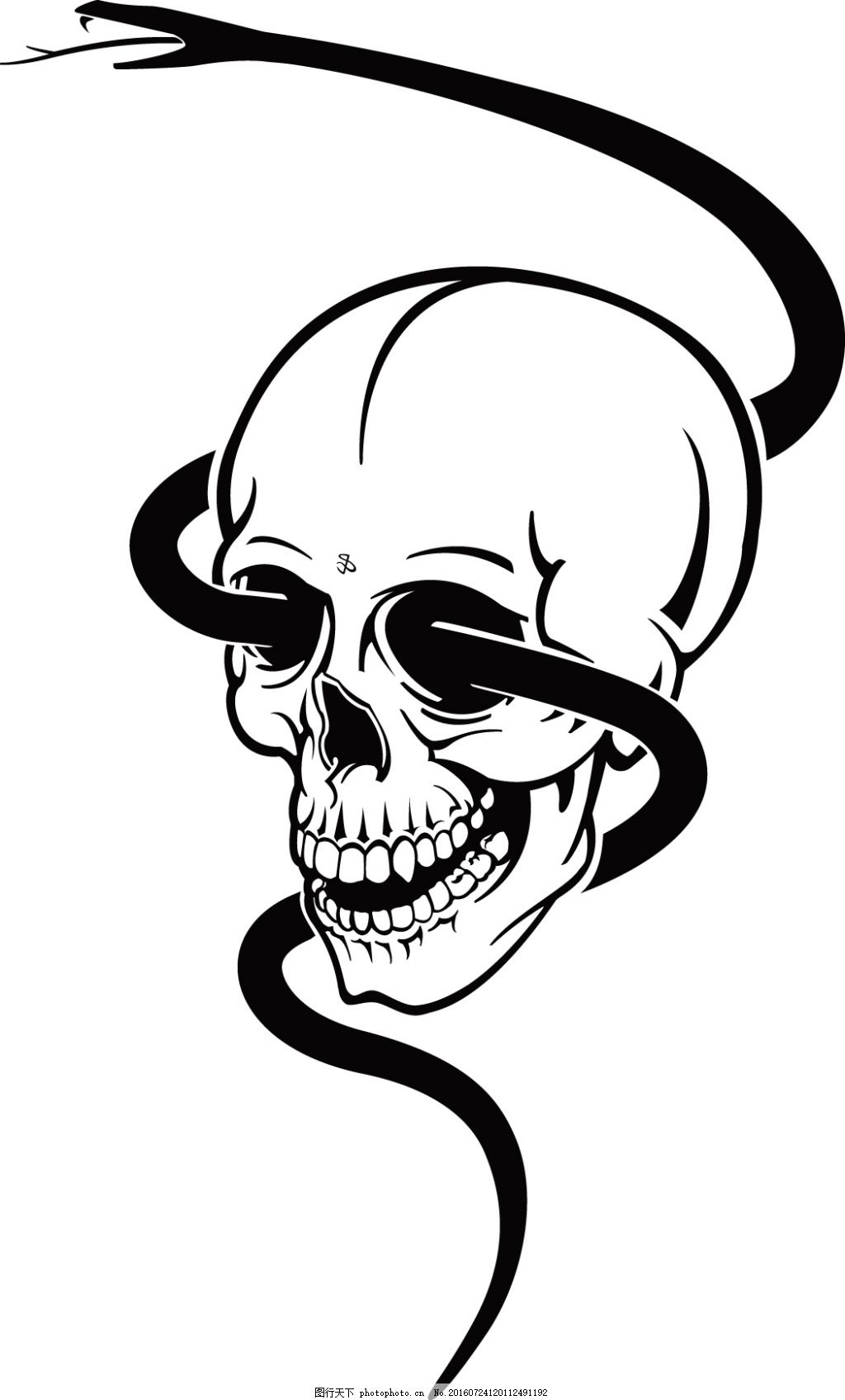 恐怖骷颅头素材 头骨 恐怖素材 万圣节 万圣节素材 蛇 手绘插画