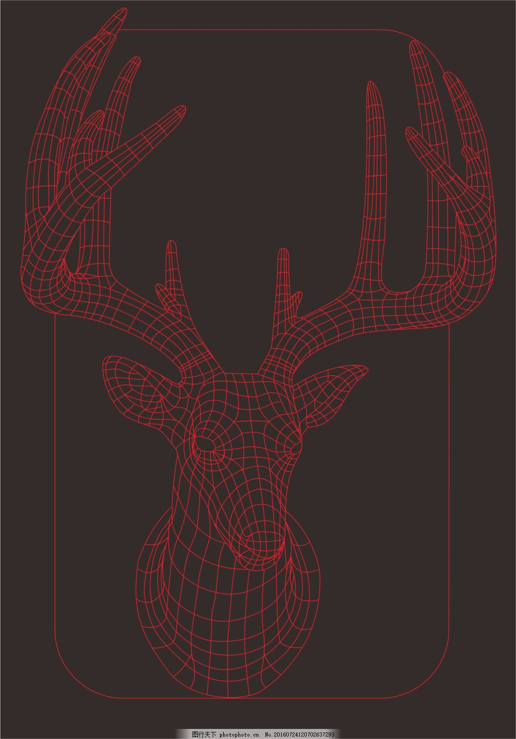 台灯 线条 夜灯 cnc 描边 3d 灯泡 平面3d  创意 鹿 梅花鹿 鹿茸 鹿头