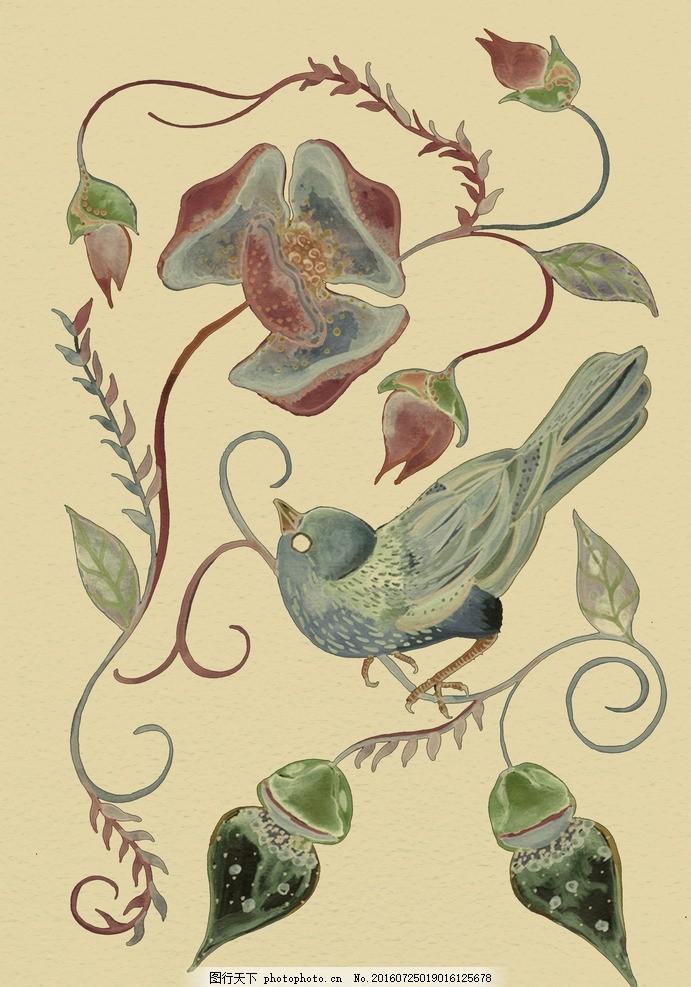 虫鸟画 花鸟画 画鸟 画小动物 植物 画花朵 临摹 学习绘画 水彩花鸟虫