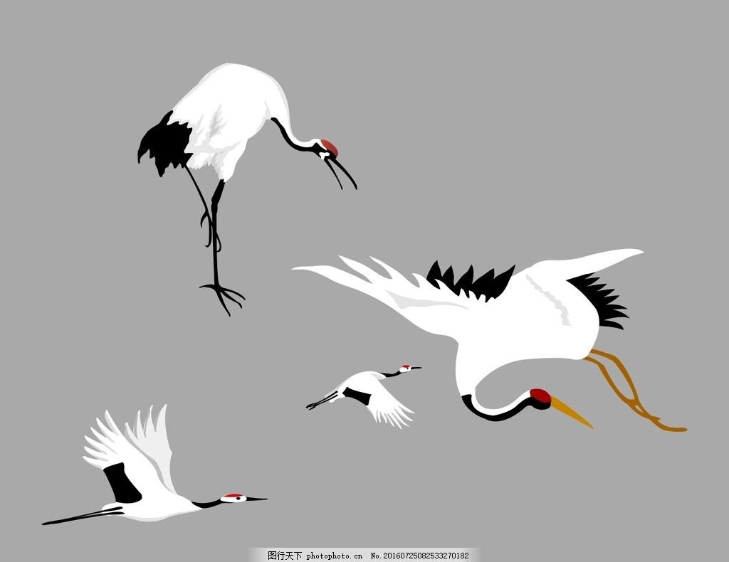 仙鹤 仙鹤素材 仙鹤矢量素材 卡通 飞舞的仙鹤 仙鹤手绘素材 动物