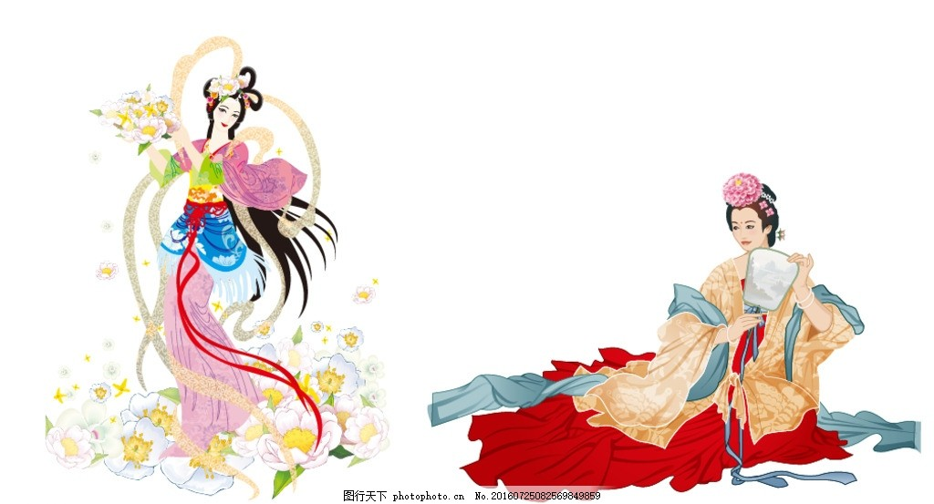 矢量古代美女 嫦娥 插画 插图 素材 仕女 手绘 团圆 嫦娥奔月 中秋节