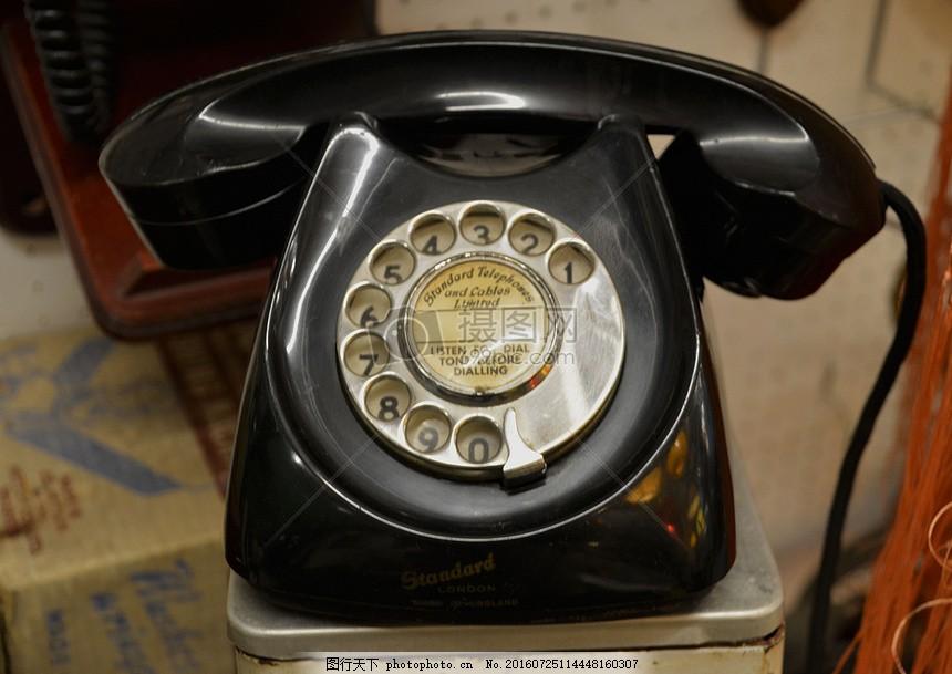 古老的黑色电话机 数字 转盘 旋转 打电话 通讯 联系 交流 红色