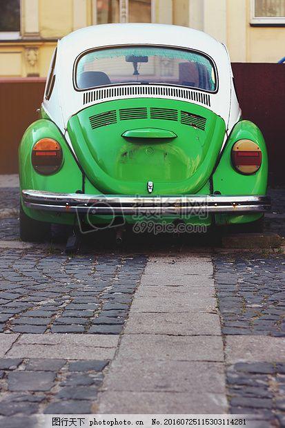 绿色汽车 老 甲壳虫 大众汽车 红色