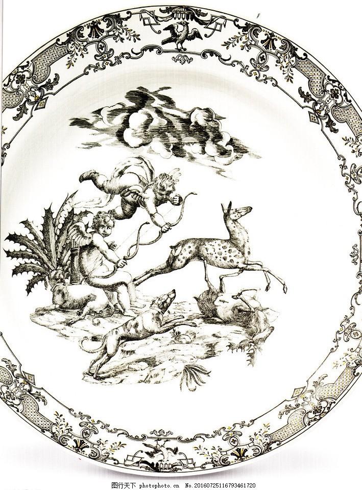 盘子图案 盘子 餐具花纹 欧式餐具 花纹设计 天使狩猎 动物图案 图案