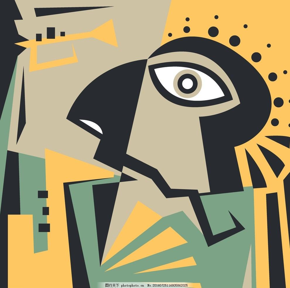 趣味现代手绘抽象矢量图印花图案