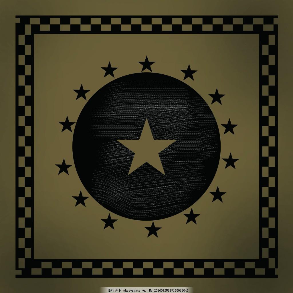 矢量印花 t恤印花 圆形 五角星 做旧