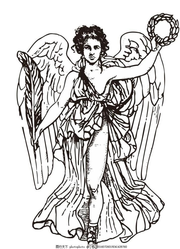 神话人物 神 丘比特 雅典 古希腊神话 教堂 天使 简笔画 线条 线描 简