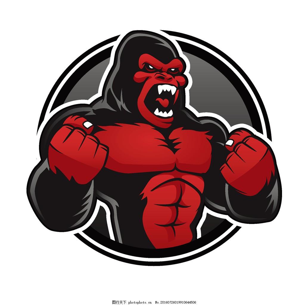 发怒的猩猩logo 卡通猩猩 卡通动物 卡通徽标 徽标设计 标志设计