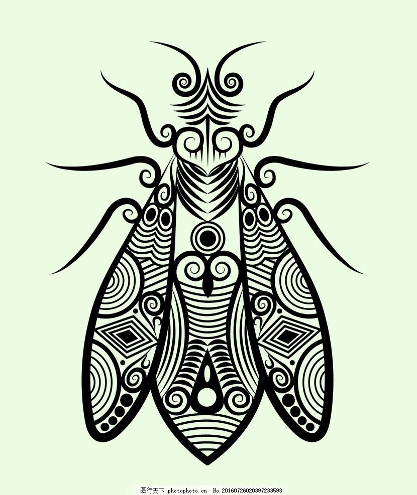 昆虫 动物图案 剪影 矢量 剪纸