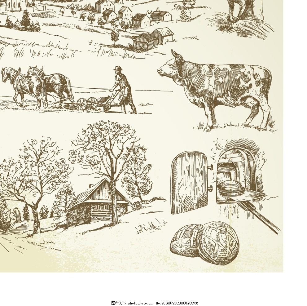 农业 牛奶 牛耕 田手绘田 园田园 风光矢量 设计 底纹边框 其他素材