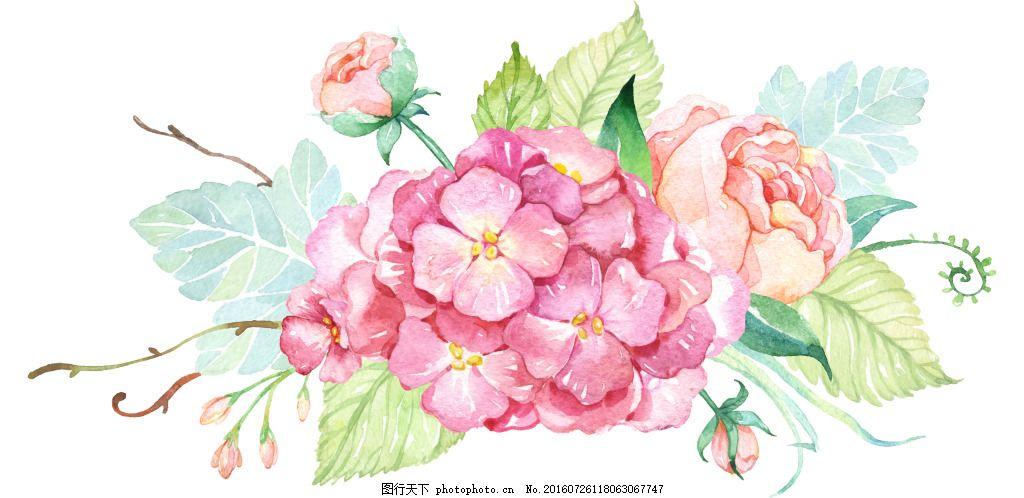 花素材 小清新 手绘 水彩 月季 树枝 花环 png 免扣素材 png