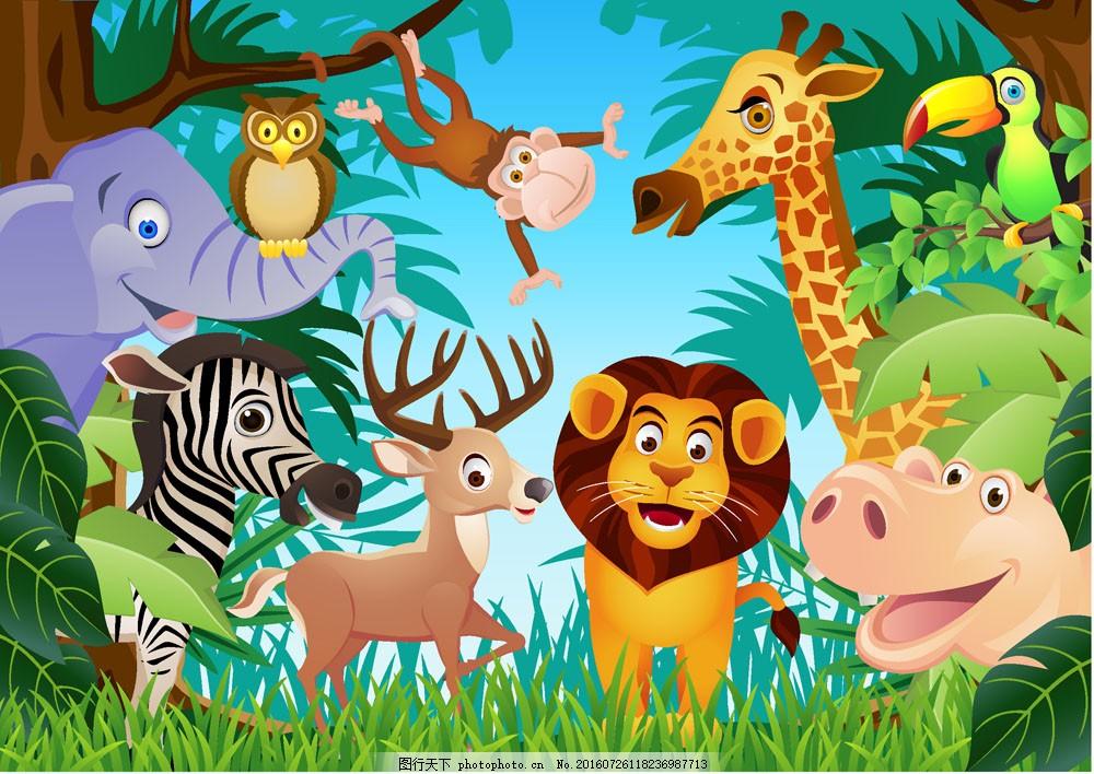 树林中的卡通动物图片