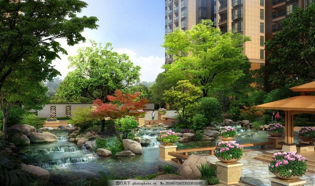 建筑景观效果图 高清 亭子 水景 水景效果图 跌水 叠水 建筑物
