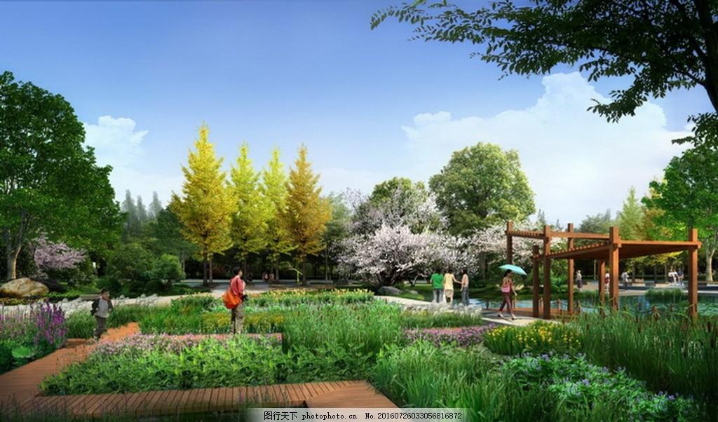 建筑景观效果图 高清 观景平台 步道 木栈道 建筑物 公园景观