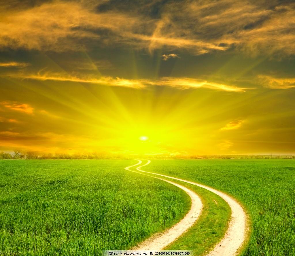 美丽的草原日出风景图片
