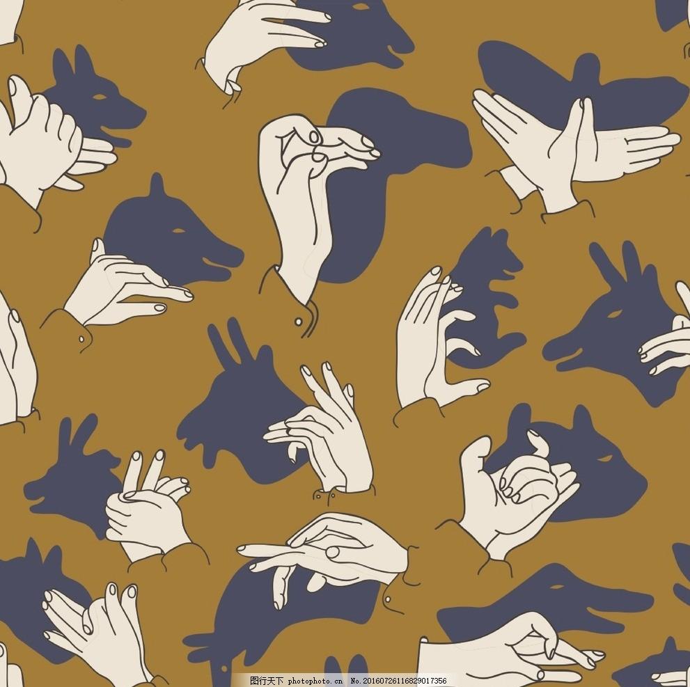 手语动物设计 矢量图 动物 手语 趣味 数码印 装饰画 动物纹样 设计