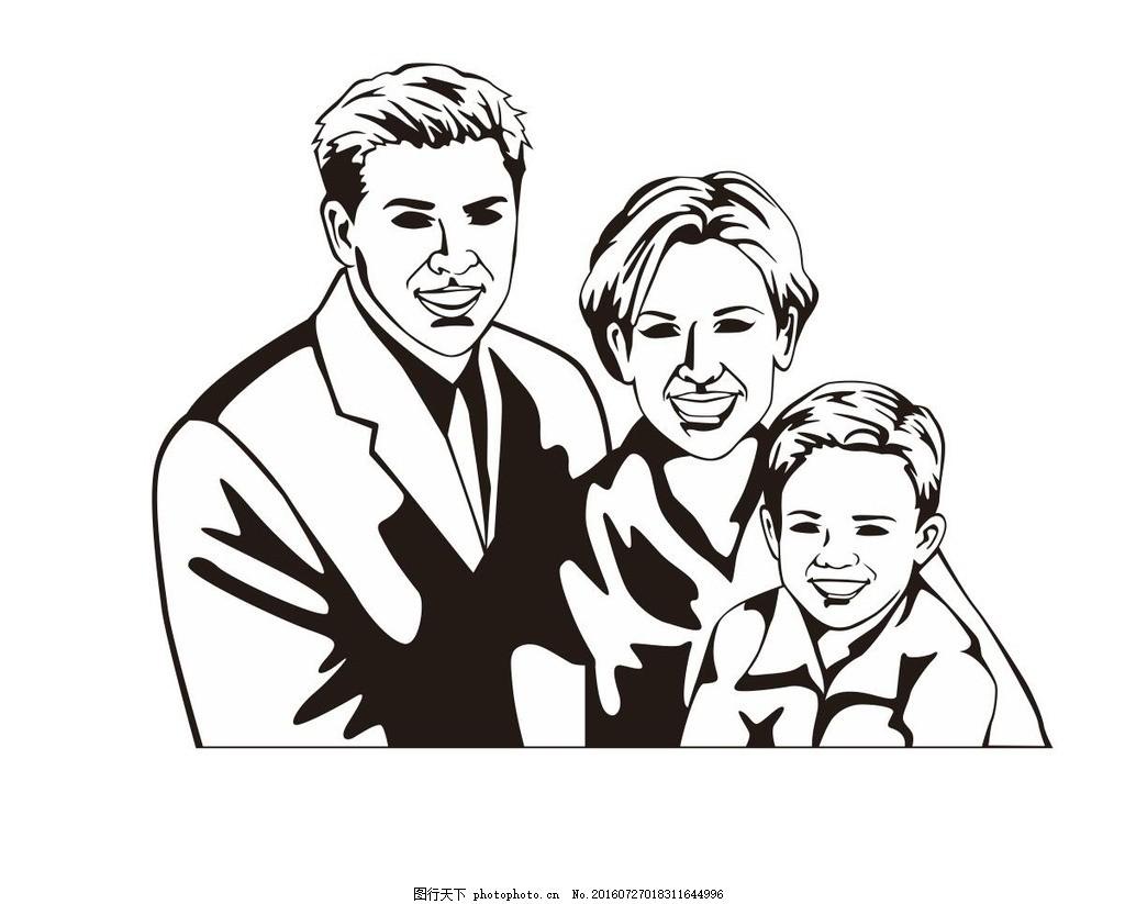 版画 家庭 合影 简笔画 线条 线描 简画 黑白画 卡通 手绘