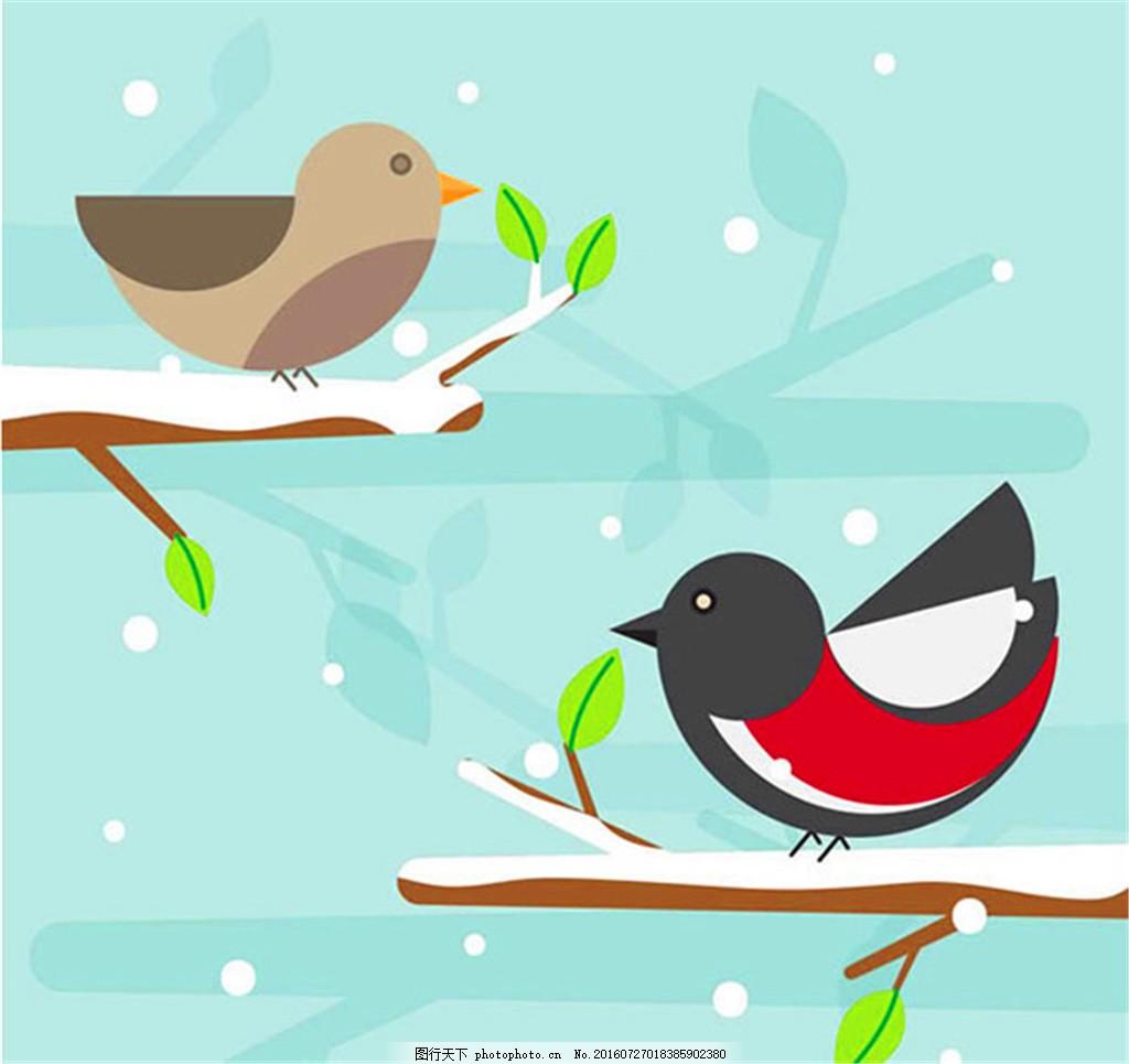 几何卡通小鸟 雪地 几何图形 动物 手绘 树枝 矢量图