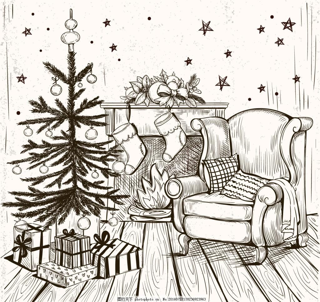 家庭背景与手绘圣诞树