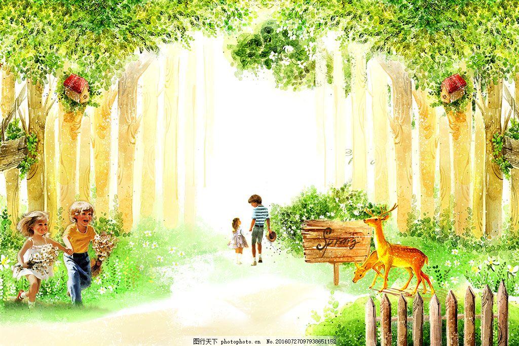 手绘森林背景墙 手绘树 卡通 鹿 动物 人物 小孩 白色