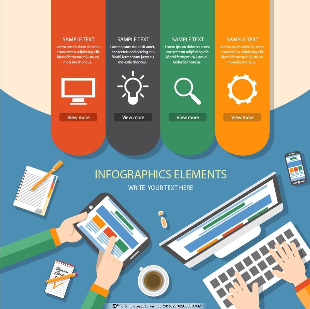 商务办公海报素材 商务海报 咖啡电脑 手机 笔记本