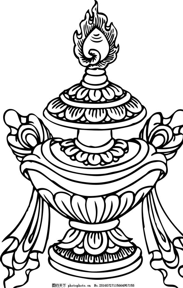 宝瓶 佛教素材 花纹素材 手绘 线描 线条 插画 广告设计 卡通设计