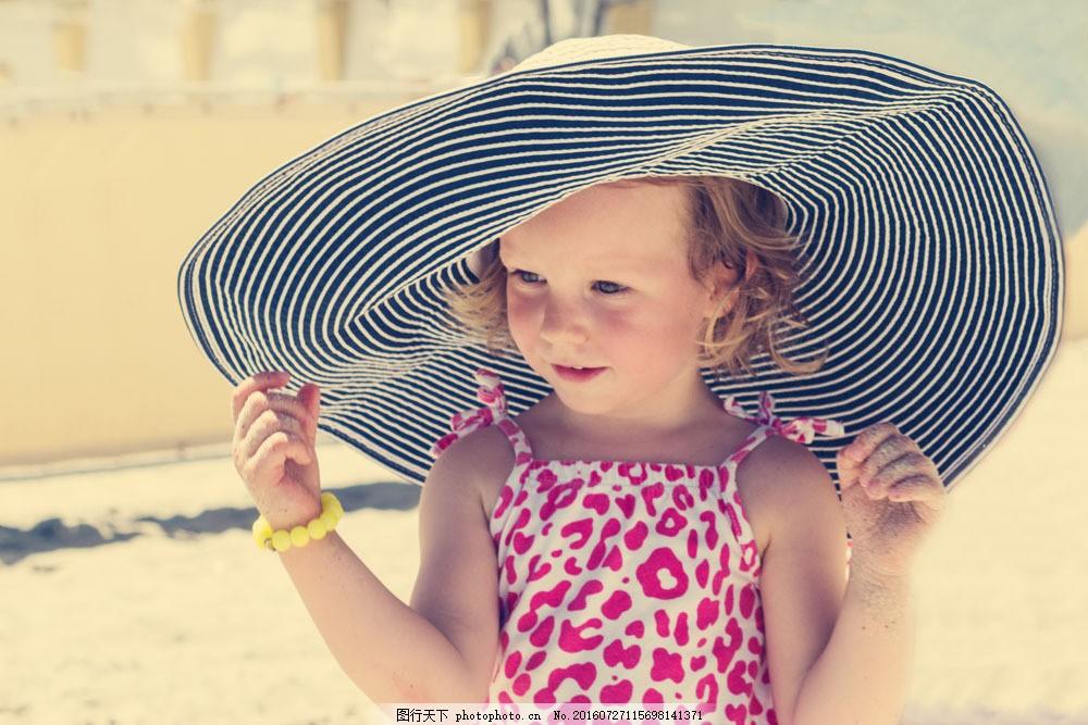 戴帽子的女孩图片素材 戴帽子的女孩 小女生 可爱女孩 儿童 儿童图片