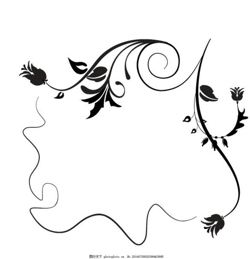 花叶元素框架 墙纸 欧式花纹 简约 欧式花纹标签 欧式 花卉 植物 古典