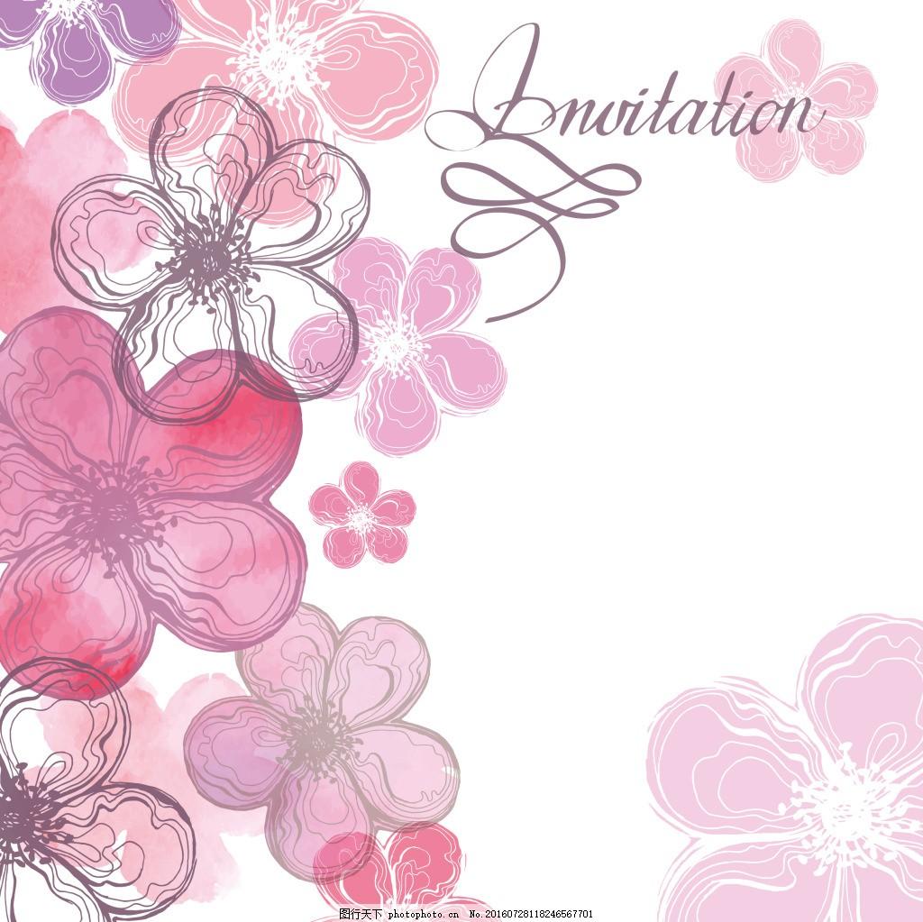 粉色桃花背景 手绘 植物 唯美