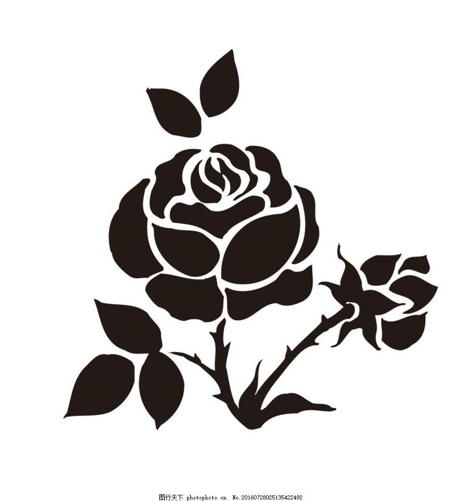 玫瑰花 盆栽 植物 花卉 花朵 草木 艺术插画 插画 装饰画 简笔画 线条
