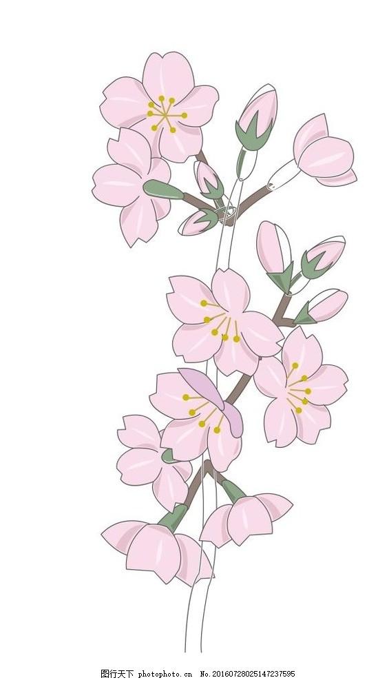桃花黑白手绘高清