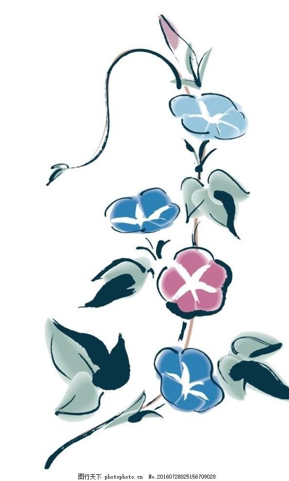喇叭花 盆栽 植物 花卉 花朵 草木 艺术插画 装饰画 简笔画