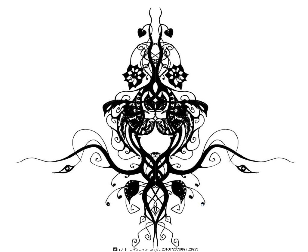 花纹设计 炫丽背景 时尚背景 黑白设计 黑白线稿 动物标志 纹身 衣服