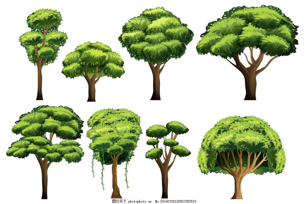 绿色大树 参天大树 形状各异 创意