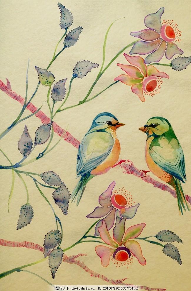 水彩画 小清新 花虫画 虫鸟花 虫鸟画 花鸟画 画鸟 画小动物 鱼类