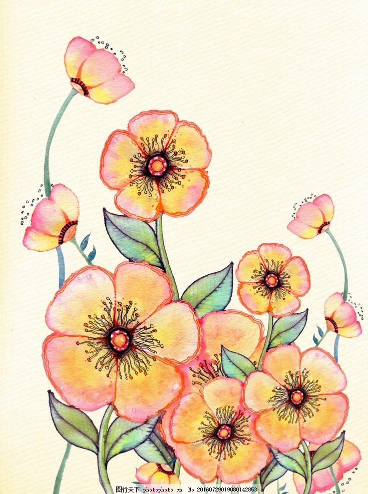 小清新 花虫画 虫鸟花 虫鸟画 花鸟画 画鸟 画小动物 植物 画花朵