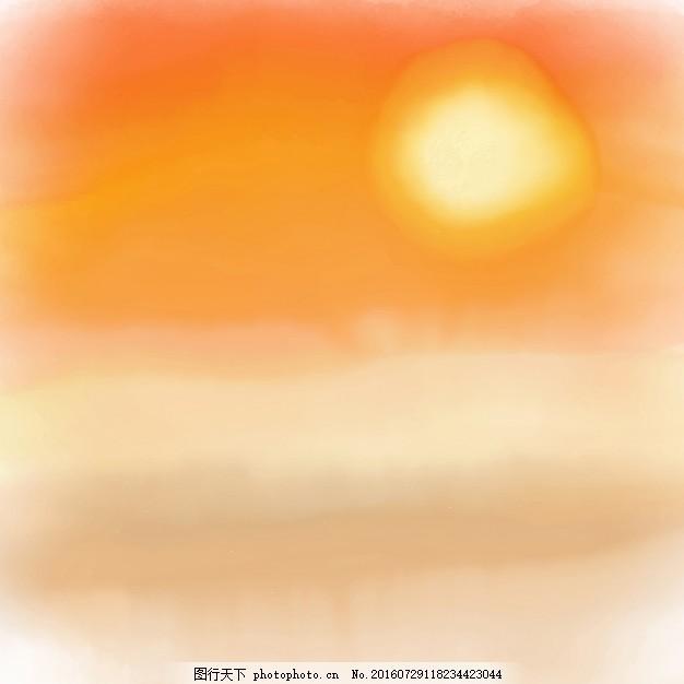 手绘夕阳背景 夏天 水彩 海滩 天空 油漆 景观 热带度假 沙滩