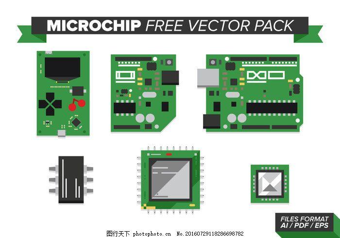微芯片免费向量包 微芯片 微处理器 计算机 图标 电路技术 芯片载体