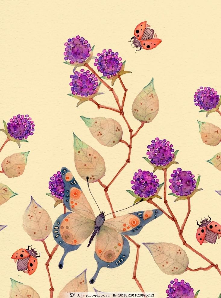 水彩花虫画 水彩画 小清新 虫鸟花 虫鸟画 花鸟画 画鸟 画小动物
