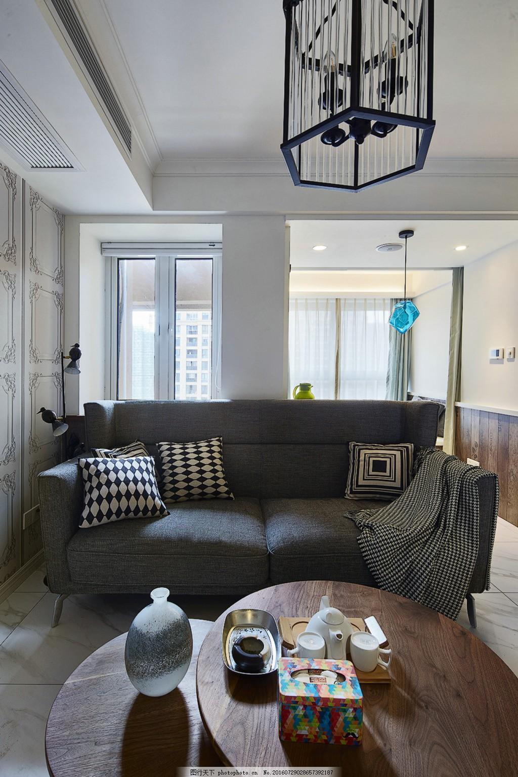 客厅沙发 室内家装 现代简约 欧美风