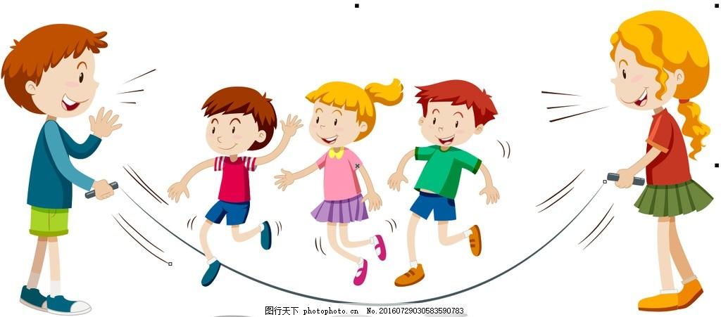 卡通儿童 儿童 小学生 卡通 运动 课间活动 游戏 卡通游戏 设计 广告
